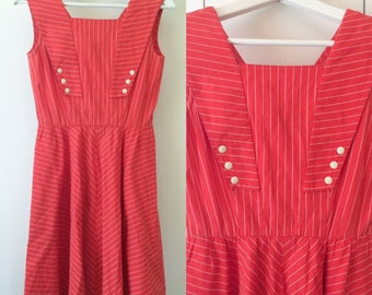 60s swing dress, red nautical style, stripes, XS Japanese vintage