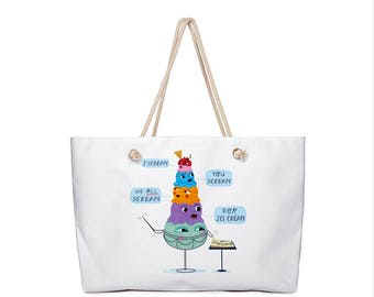 "I Scream, You Scream, We All Scream for Ice Cream - Weekender Bag with Rope Handles - 24"" x 16"" by Oliver Lake - iOTA iLLUSTRATiON"