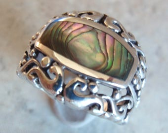 Abalone Ring Sterling Silver Cutout Scrollwork Size 5-3/4 Vintage Estate 130522