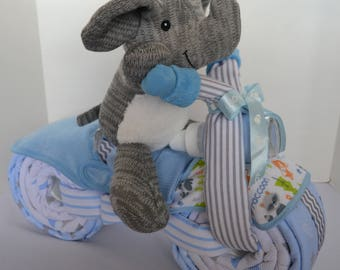 Diaper Cake, Motorcycle Diaper Cake, Stuffed Elephant, Jungle Baby Shower Gift, 2 Wheeler, Baby Boy Gift, New Baby