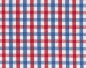 Fabric Finders red royal blue white tricheck Tattersall Gingham Red White blue plaid - cotton sewing quilting fabric - HALF YARD cut