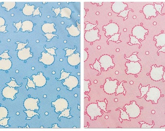 Riley Blake - White Elephants on BLUE or PINK - Toy Chest 2 by Penny Rose Studio - cotton sewing quilting fabric - choose your cut