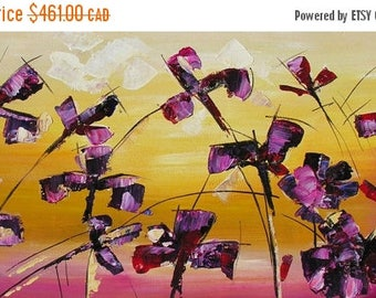 70% off ORIGINAL Oil Painting Share The Love 23 x 45 Palette Knife Flowers Textured Colorful Purple Iris Modern ART by Marchella