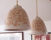 RESERVED for Hayley:  Two Hanging Lamps, Beige and white with Hand Carved Flowers and Birds
