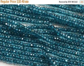 ON SALE 55% London Blue Topaz Quartz, Micro Faceted Topaz Quartz, 3.5mm Beads, London Blue Beads, London Blue Topaz Quartz Necklace, 13 Inch