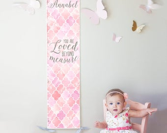 Custom/ Personalized Loved Beyond Measure canvas growth chart with pink and lavender watercolor trellis design - girl nursery/baby shower