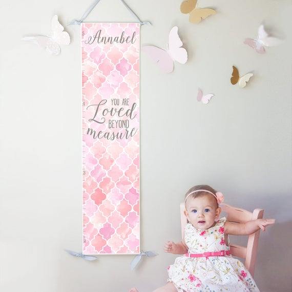 Personalized Loved Beyond Measure canvas growth chart in pink and lavender
