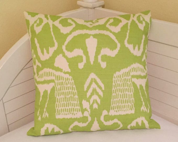 Quadrille China Seas Bali II in Chartreuse on Tint (Ivory) Designer Pillow Cover