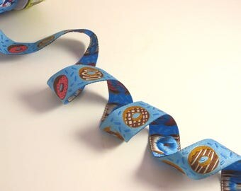 "Fun Iced Donuts on Blue Polyester Jacquard Ribbon 7/8"" Wide--By the Yard"