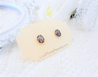 Black Opal Stud Earrings, Galaxy Studs, Nebula Earring Studs, Estate Jewelry, Rainbow Confetti, Oval Studs, Vintage Glass Studs, Outer Space