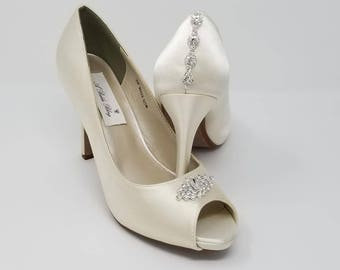 Ivory Wedding Shoes Ivory Bridal Shoes with a Sparkling Crystal Design and Back Crystal Design -  Over 100 Colors To Pick From