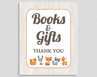 Books & Gifts Shower Sign, Woodland Animals Baby Shower Sign, Gender Neutral,  INSTANT PRINTABLE