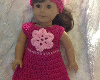 Doll dress and hat shocking pink light pink. 18 inch doll clothes handmade crochet new never used doll dress American girl