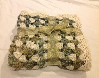Granny square blanket in greens earth tones and cream 35 inch square handmade made crochet baby blanket afghan new never used
