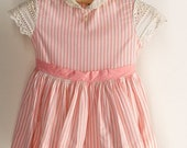MOVING SALE Pink Baby Girls Dress SAKS Fifth Avenue Dandy Striped 50's Dress Eyelet Toddler's Dress Peter Pan Collar Pink 50s Baby Doll Girl