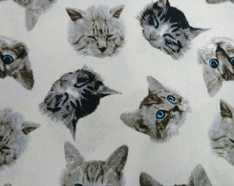"""Real cat face - 1 yard - cotton linen - 3 colors ,anilmal,kawaii,handmade, Check out with code """"5YEAR"""" to save 20% off"""