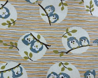 """Good friends of owls - 1 yard - cotton linen - 2 colors - fabric ,forest, cute, Check out with code """"5YEAR"""" to save 20% off"""