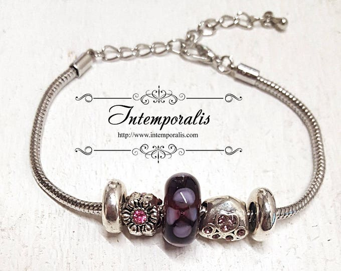 Purple with pink flowers lampwork bead charm bracelet, european style bracelet , OOAK, SABRLW03