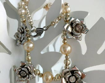 OOAK Necklace Bridal Fashion, Glass Pearls, Silver Plated, Flower Rose Charms