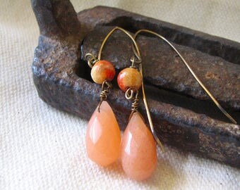 simple peach teardrop dangle earrings