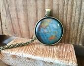 Globe Pendant Necklace Map World Travel Wanderlust Gift for Traveler Earth Nation