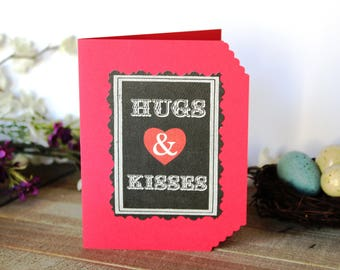 Handmade Valentine's Day Card, Hugs and Kisses, Unique, One of a Kind, Free US Shipping