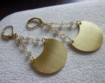 Raw Brass Crescent Moon Labradorite Rosary Chain Earrings