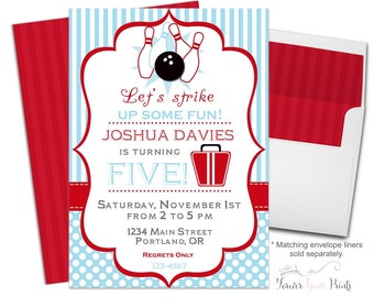 Bowling Party Invitation - Bowling Birthday Invitation - Bowling Invitation - Bowling Birthday Party - Kids Bowling Party - Teen Birthday