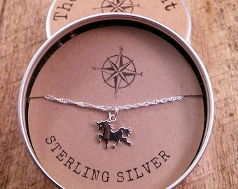 Unicorn Sterling Silver Charm  Pendant Necklace  /Teenager gift / Sterling Silver / Teacher gift / co-worker gift / bridesmaid gift