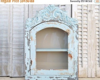 ON SALE Rustic Shabby Chic Wood Cabinet with Shelf~ Bathroom Shelf~Shabby Chic~French Cottage~Rustic Cabinet