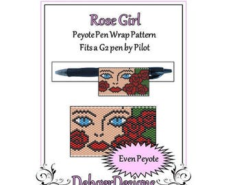 Peyote Beading Pattern (Pen Wrap/Cover)-Rose Girl