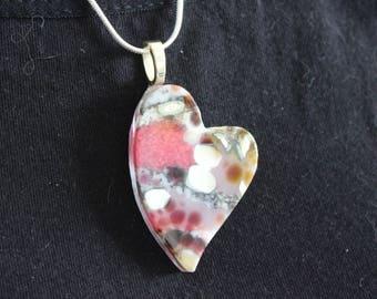 Heart pendant, glass heart pendant, fused glass heart pendant, glass, heart, fused glass, heart glass pendant, Valentine's Day heart