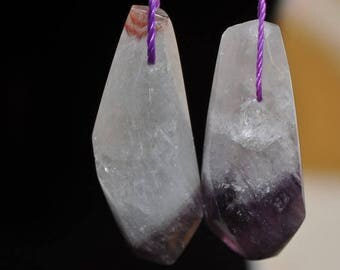 2 Pieces 13x33x12mm Dreamy~Brazilian Two Tone AMETHYST Organic Form Point Drop Pendant - E1117
