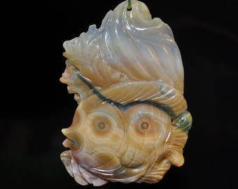 "35X50X8mm ""Rhythm of The Sea/Perfect""~Multi-Hue OCEAN JASPER ANGELFISH Hand-Carved 3D Large Focal Pendant - G1127"