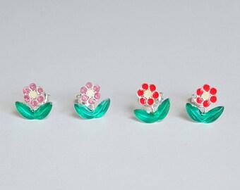 Flower Earrings, Sterling Silver, Children's Jewelry, Children's Gift, Kids Jewelry, Kids Earrings, Birthday Gift
