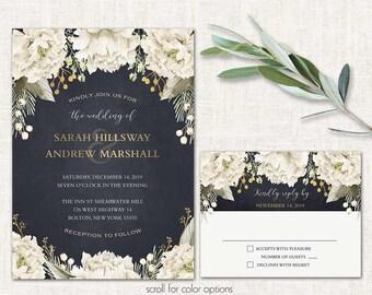 Floral wedding invitation template Wedding invitation Printable wedding invites Navy Gold Wedding invitations set printable COLOR OPTIONS