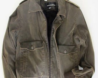 Vintage Men's Jacket/ WEATHERPROOF Garment CO/ faux fur lining/ faded green