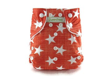SweetPees WFREE Large UltraTRIM Zorb II Prefold Soaker Insert Cloth Diaper Cover Low Shipping Red Orange White Stars Military AIO