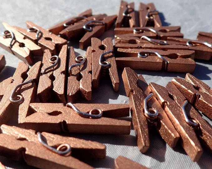 """Dark Gold Mini Clothespins - 25 - 1"""" or 2.5 cm - Wooden - Great for Wedding Favors Scrapbooking and Decorations - Dark Copper"""