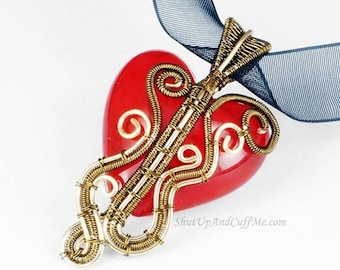 SALE - Gold and Vintage Brass Wrapped Red Glass Heart Necklace Pendant - CLEARANCE