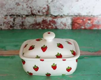 Strawberry Butter dish hand painted china