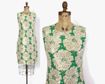 Vintage 60s Mod DRESS / 1960s Green & Gold Brocade Cocktail Party Dress