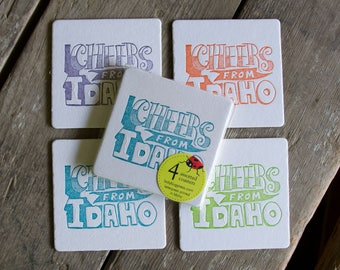Cheers from Idaho Coasters,  (Letterpress printed, 3.5 inches) set of 4, perfect gift