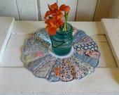 Cute dresden plate vintage quilt block candle mat, place mat,  flower vase mat, mug rug, mini quilt, table runner, farmhouse or cottage
