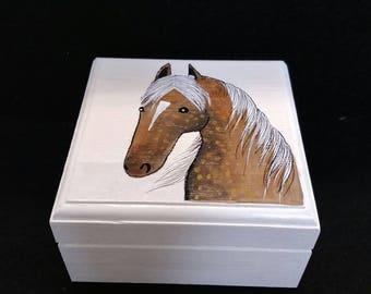 Handpainted wood small jewelry box
