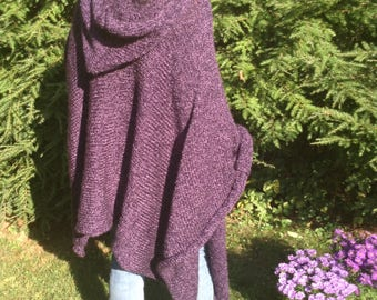 Purple Knitted Poncho/Cape