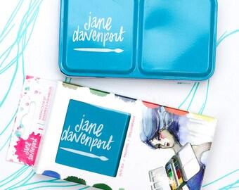 New Jane Davenport JDMM Glitz Sea Watercolor Half-Pan Tin 12 Colors Including Two Metallics Travel Tin Swatch Card