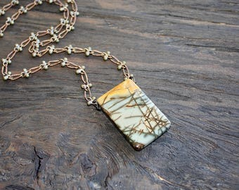 Picasso Jasper and antique brass necklace