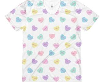 Conversation Heart Sublimation women's crew neck t-shirt