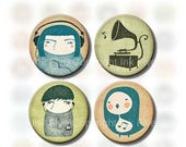 30% SALE 1 inch circles I Love Music Collage Sheet for bottle caps, button badges etc. Printable Digital images for download. Artwork for je